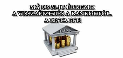 MÁJUS 31-IG ÉRKEZIK A VISSZAFIZETÉS A BANKOKTÓL. A LISTA ITT!