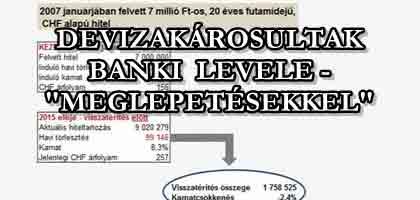 """DEVIZAKÁROSULTAK BANKI LEVELE - """"MEGLEPETÉSEKKEL"""""""