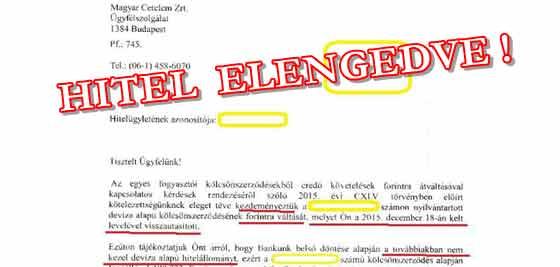 HITEL ELENGEDVE-AZ ÜGYLET LEZÁRULT.