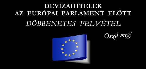 DEVIZAHITELEK AZ EURÓPAI PARLAMENT ELŐTT-DÖBBENETES FELVÉTEL.