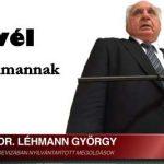 LEVÉL DR. LÉHMANN GYÖRGYNEK